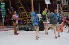 Backpakers on the island of Koh Rong Stock Image