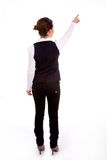 Backpose of indictaing businesswoman Royalty Free Stock Photography