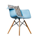 Backrest pillow on blue color chair isolated on white. Background Royalty Free Stock Photography