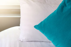 Backrest pillow and pillow on bed. In modern bedroom Royalty Free Stock Photos