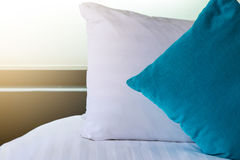 Backrest pillow and pillow on bed. In modern bedroom Royalty Free Stock Photo