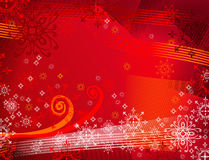 Backrground rosso con i fiocchi di neve Fotografia Stock Libera da Diritti