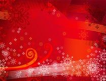 Backrground vermelho com flocos de neve Fotografia de Stock Royalty Free