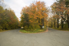 Backroads in autumn on Mohawk Trail in western Massachusetts, New England Royalty Free Stock Photos