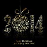 在黑backround的新的2014年标志。圣诞节贺卡 免版税库存照片