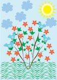 Backround abstracto con el árbol y las flores Fotos de archivo