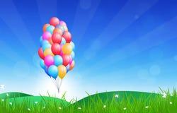 Palloni di buon compleanno Fotografia Stock