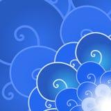 Backround blu astratto dell'onda di oceano del lineart di vettore Fotografie Stock