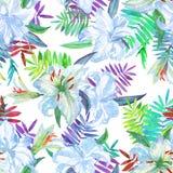 Backround de liles de fleurs blanches Modèle floral en pastel de lis d'illustration Photos stock