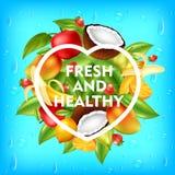 Backround fresco e saudável dos frutos, ilustração do vetor ilustração royalty free