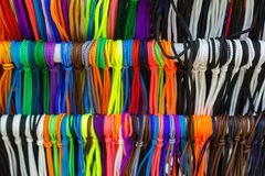backround multicolor brillante de la textura de los cordones Fotografía de archivo