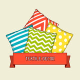 Backround with multicolored decorative pillows. Sketch illustration.  Stock Photo