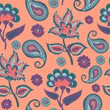 Backround Pasley, Indian Kalamkari, Arabic Repeat Pattern in Living Colar color trend 2019 vector illustration