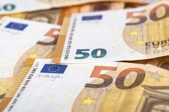 Backroung de billets de banque du papier 50 de Bill euro Photos stock