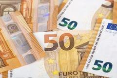 Backroung delle banconote della carta 50 di Bill euro Fotografie Stock