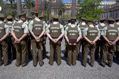 Backs of Carabineros in parade, Santiago Royalty Free Stock Images