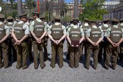 Backs of Carabineros in parade, Santiago royalty free stock images
