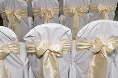 Backs of chairs prepared for wedding marriage Royalty Free Stock Images