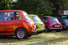 Backs of colorful Mini Cooper cars. PRAGUE, CZECH REPUBLIC - JUNE 10th 2017: Backs of colorful Mini Cooper cars which were on display during annual Legendy car stock photos