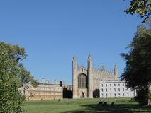 King`s College Chapel, Cambridge, UK, seen from the Backs. The Backs are the green lawns on the far side of the river to the town, from where you get excellent royalty free stock image