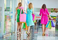 Backs of shoppers Royalty Free Stock Image