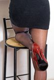 Backside. A backside shot with red shoes and high heel stock photo