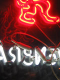 The backside of advertisement. Back of a restaurant neon in zurich, switzerland stock image