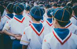 Backside of asian boy scout group line up. Royalty Free Stock Image