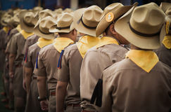 Backside of asian boy scout group line up. Stock Images