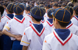 Backside of asian boy scout group line up . Royalty Free Stock Image