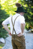 Backside of a bavarian man Stock Images