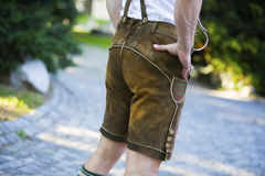 Backside of a bavarian man Stock Photography