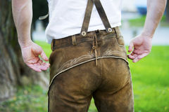 Backside of a bavarian man Royalty Free Stock Images
