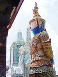 Backside of big statue at thailand temple summer holiday. Travel trip stock photos