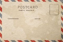 Backside of blank postcard with dirty stain. Backside of blank postcard with paper dirty stain stock illustration