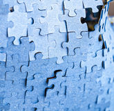 Backside of blue puzzle jigsaw Royalty Free Stock Photography
