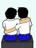 Backside boys student hug Royalty Free Stock Images