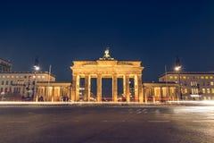 Backside of the Brandenburg Gate at night stock image