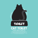 Backside Of A Cat Using Toilet. Royalty Free Stock Photos