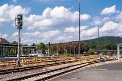 Backside central station of the city Bayreuth stock photography