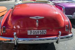 Backside of cuban classic convertible car Stock Image