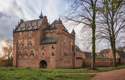 The backside of Doorwerth Castle in The Netherlands. Doorwerth Castle  is a medieval castle situated near the river Rhine in The Netherlands Stock Photography