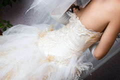 A backside of a dress of a bride Royalty Free Stock Photography