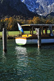 Tourist boat on the Konigssee lake Stock Photos