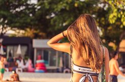 Backside of the girl at the beach. Stock Image