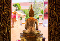 The backside of golden buddha statue Royalty Free Stock Photos
