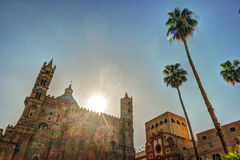 Backside of the huge cathedral in Palermo, Sicily Stock Photos