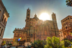 Backside of the huge cathedral in Palermo, Sicily. Italy Stock Photo