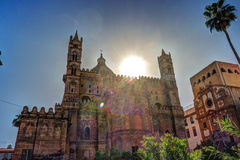 Backside of the huge cathedral in Palermo, Sicily Stock Photo