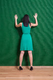 Backside image of lady weared green dress Royalty Free Stock Photography
